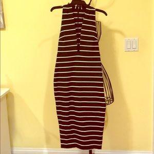 Black & White striped midi dress with deep v cut